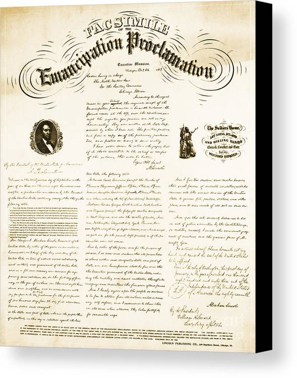 Emancipation Proclamation Canvas Print featuring the photograph Emancipation Proclamation by Photo Researchers