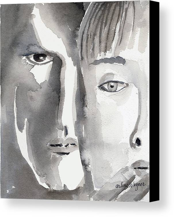 Faces Canvas Print featuring the painting Faces by Arline Wagner