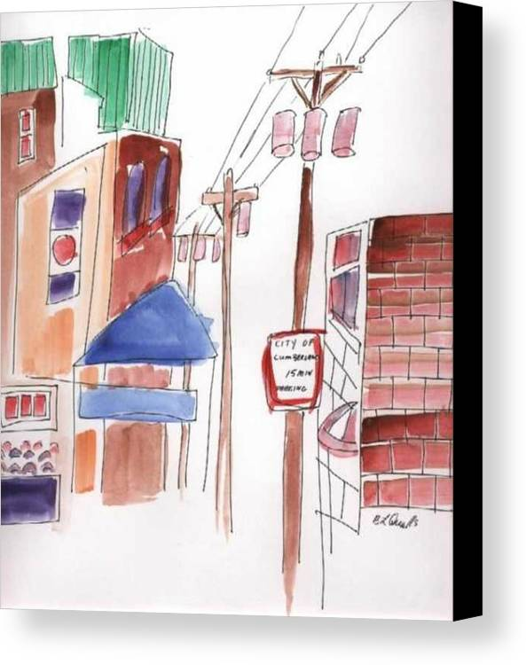 Watercolor Canvas Print featuring the painting Festival In The City 8 by B L Qualls