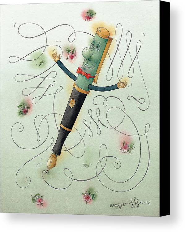 Pen Ice Winter Dance Slide Skate White Calligraphy Canvas Print featuring the painting Fountain-pen by Kestutis Kasparavicius