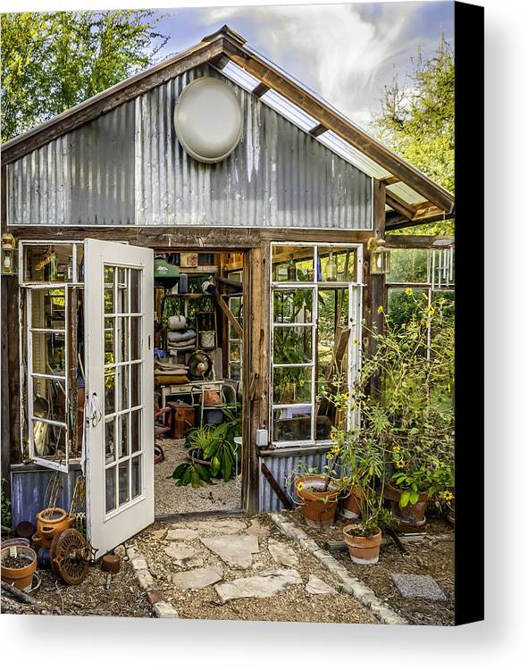 Garden Shed Canvas Print featuring the photograph Garden Shed by Jim Collier