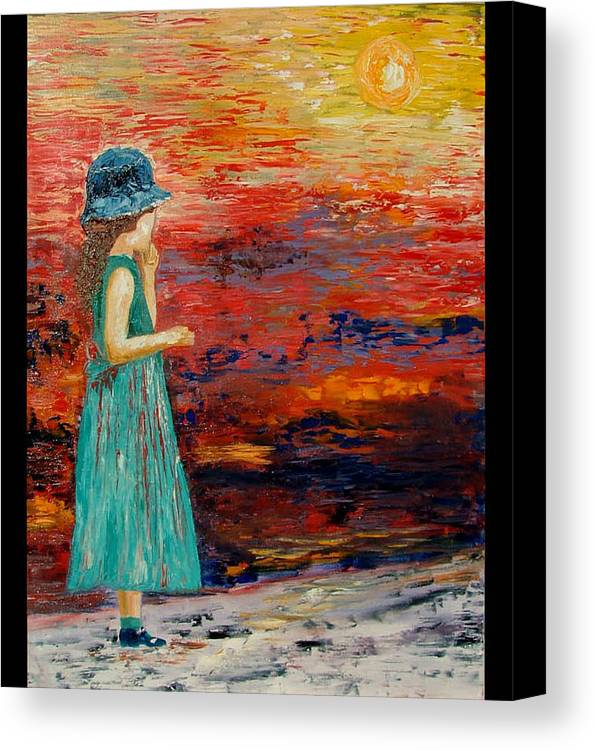 Girls Canvas Print featuring the painting Girl Watching Sunset by Inna Montano