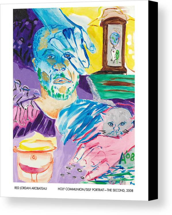 Portrait Canvas Print featuring the painting Holy Communion Self Portrait The Second by Red Jordan Arobateau
