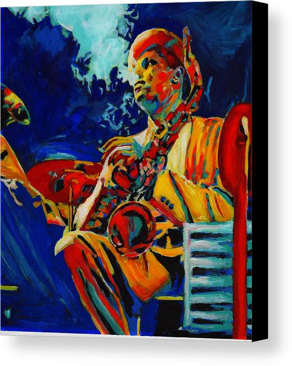 Blues Canvas Print featuring the painting Hot Sax by Vel Verrept