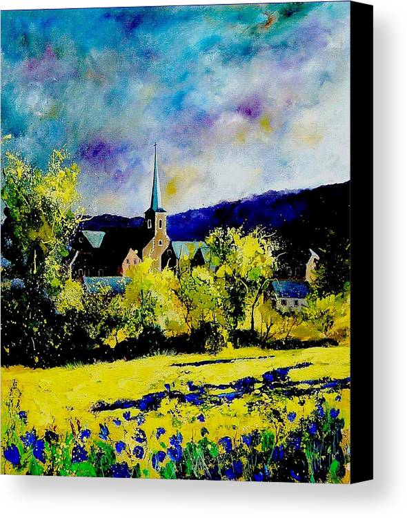 Poppies Canvas Print featuring the painting Hour Village Belgium by Pol Ledent