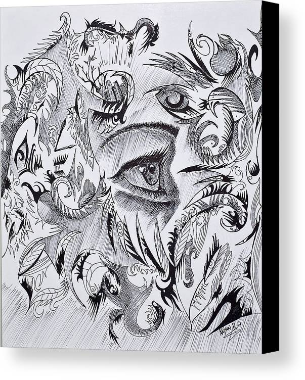 Canvas Print featuring the drawing I See You by Nelson Rodriguez