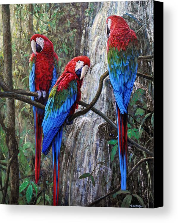 Macaws Canvas Print featuring the painting In Front Of The Cascade by Gabriel Hermida