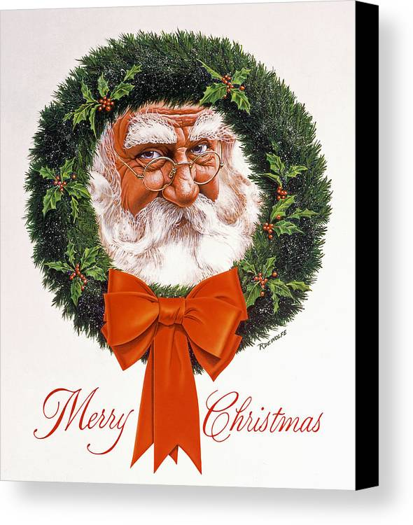 Santa Canvas Print featuring the painting Jolly Old Saint Nick by Richard De Wolfe