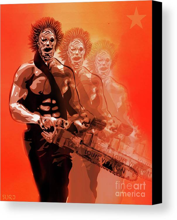 Leatherface Canvas Print featuring the mixed media Leatherface Beastmode by Surj LA