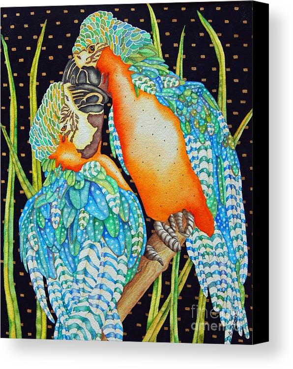 Birds Canvas Print featuring the painting Loving Birds by Gail Zavala