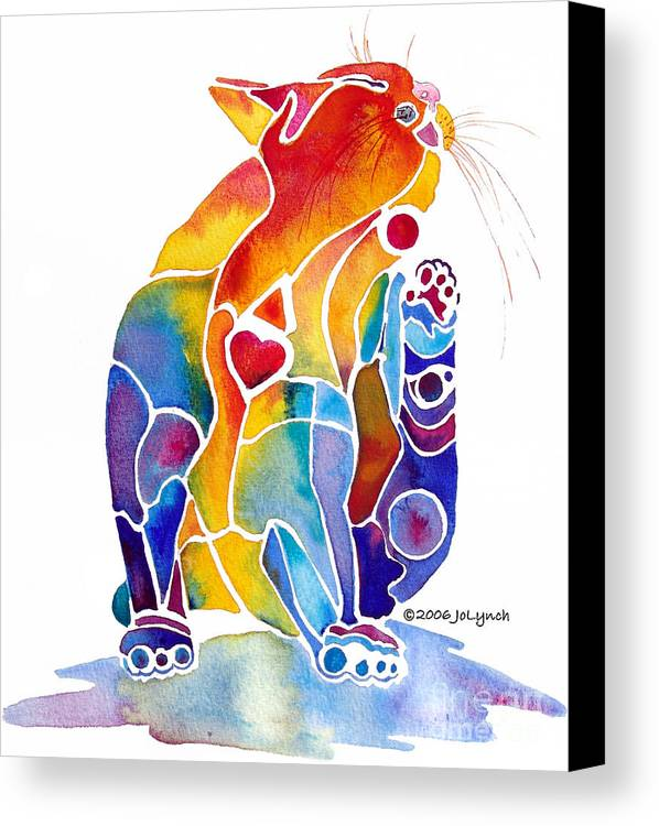 Cat Canvas Print featuring the painting Luv Cat by Jo Lynch