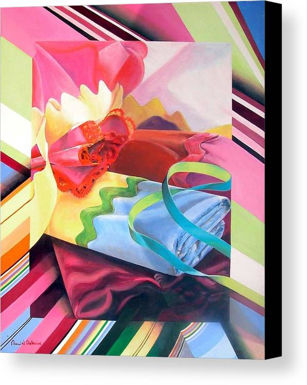 Still Life Canvas Print featuring the painting Mercerie by Muriel Dolemieux
