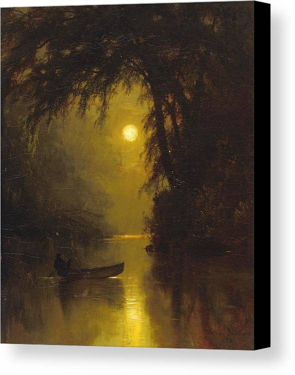 Arthur Parton Canvas Print featuring the painting Moonlit Landscape by Arthur Parton