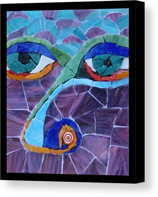 Mosaic Canvas Print featuring the painting Nose - Fantasy Face No. 17 by Gila Rayberg