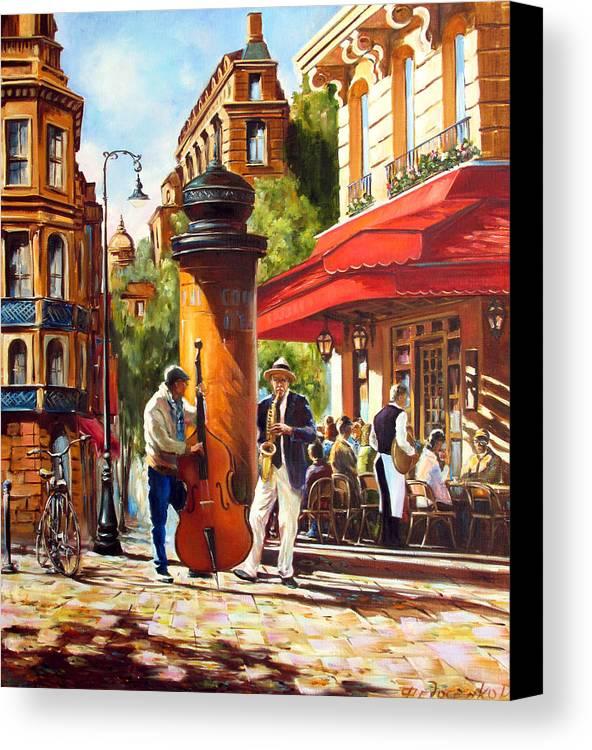 Paris Canvas Print featuring the painting Paris, Street Musicians by Roman Fedosenko