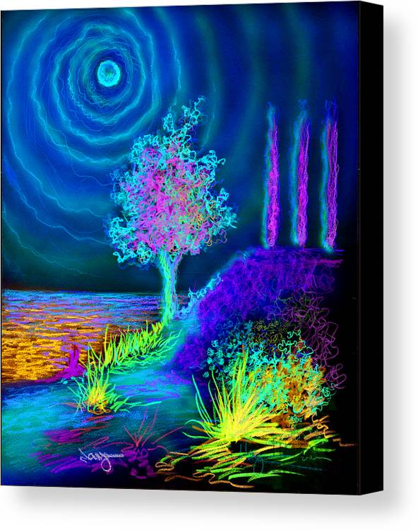 Poplars Pine Water Surreal Agave Rays Sun Sunset Sunrise Canvas Print featuring the drawing Poplars by William Vanya