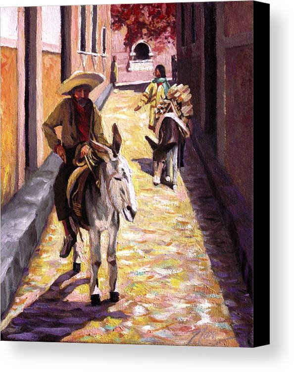 Impressionism Canvas Print featuring the painting Pulling Up The Rear In Mexico by Nancy Griswold