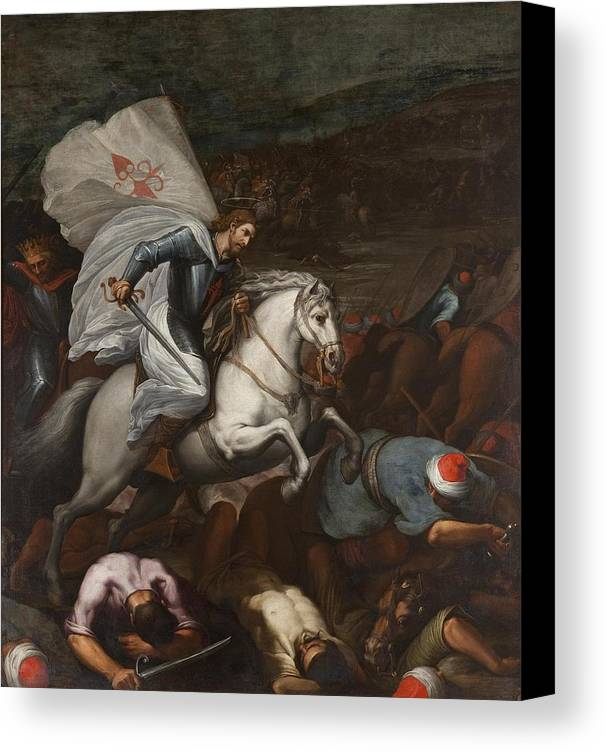 Santiago At The Battle Of Clavijo Canvas Print featuring the painting Santiago At The Battle Of Clavijo by MotionAge Designs