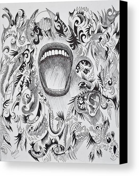 Pen Canvas Print featuring the drawing Scream by Nelson Rodriguez