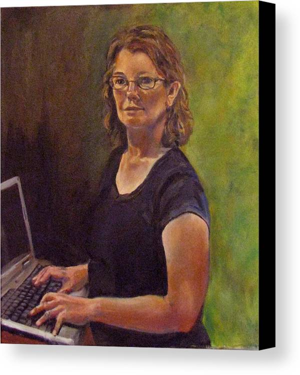 Self Portrait Canvas Print featuring the painting Self Portrait After Sofonisba by Art Nomad Sandra Hansen