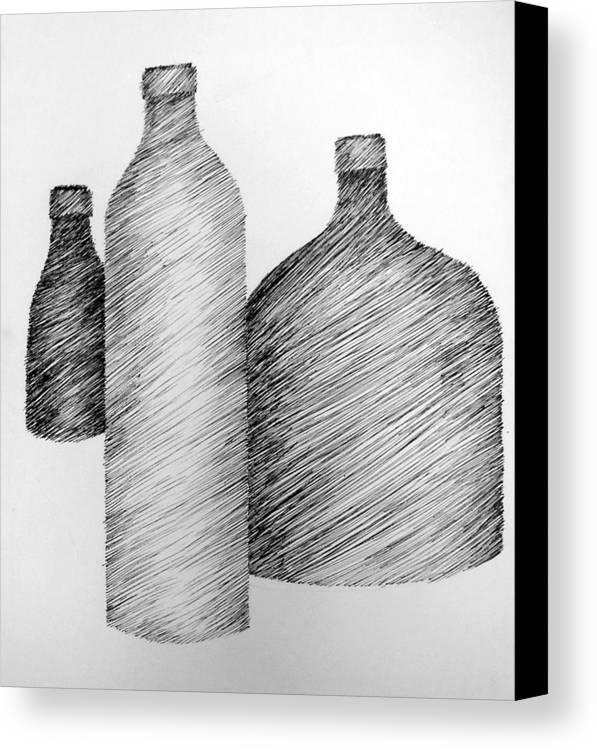 Still Life Canvas Print featuring the drawing Still Life With Three Bottles by Michelle Calkins