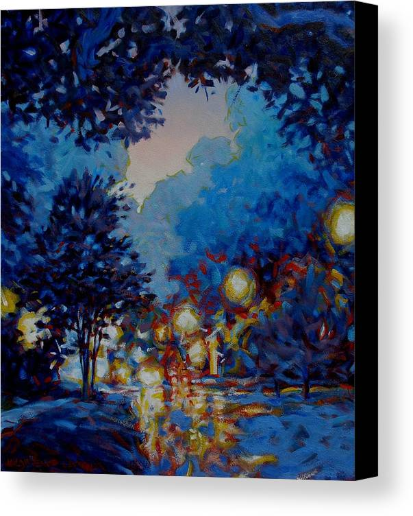 City Canvas Print featuring the painting Street Lights by Kevin Lawrence Leveque