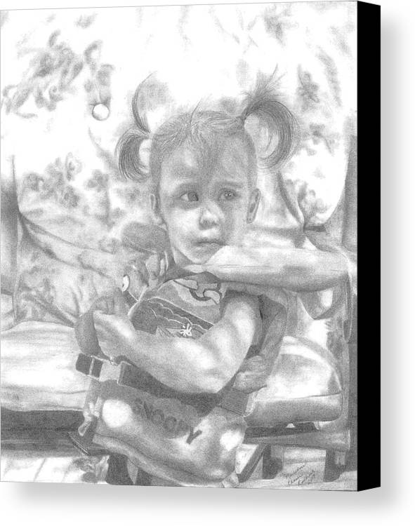 Graphite Canvas Print featuring the drawing Summer Fun by Rhonda Rodericks