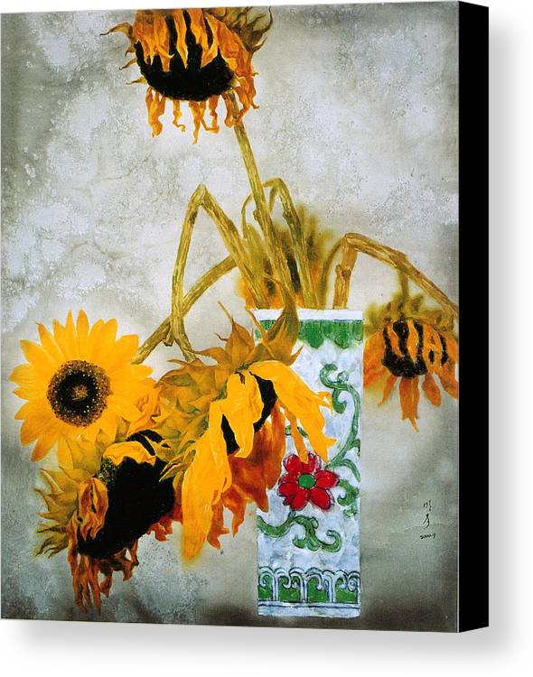 Painting Canvas Print featuring the painting Sun Flowers No.1 by Minxiao Liu