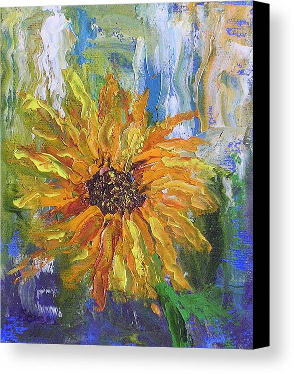 Sunflower Canvas Print featuring the painting Sunflower Abstract by Barbara Harper