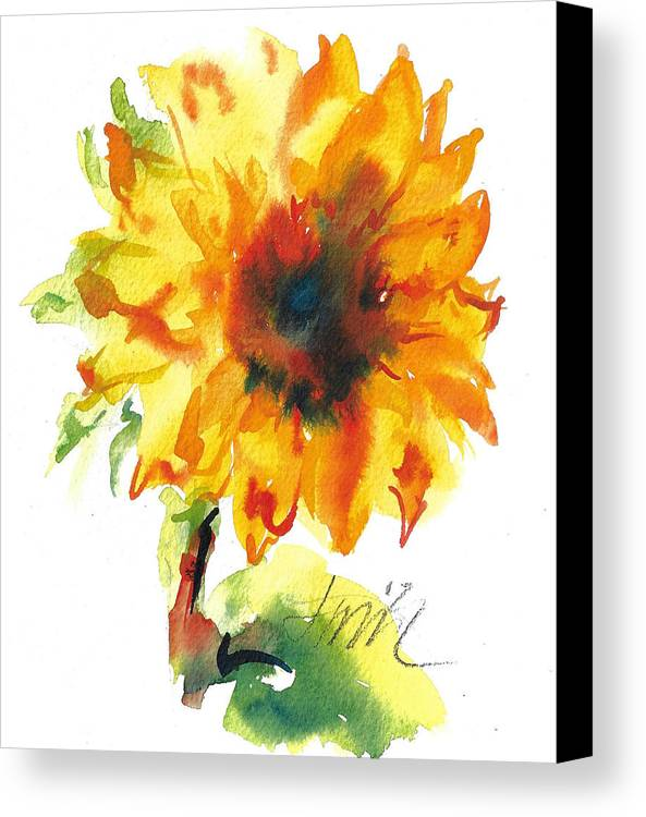 Floral Canvas Print featuring the painting Sunflower With Blues by Jacki Kellum