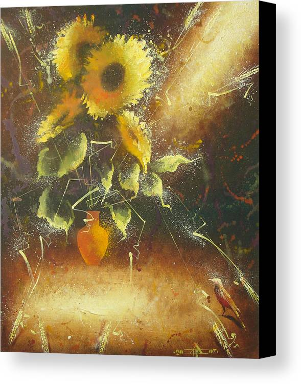 Still Life Canvas Print featuring the painting Sunflowers by Andrej Vystropov
