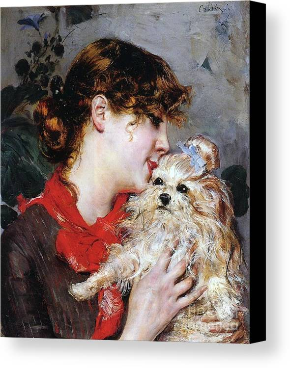 The Actress Rejane And Her Dog Canvas Print featuring the painting The Actress Rejane And Her Dog by Giovanni Boldini