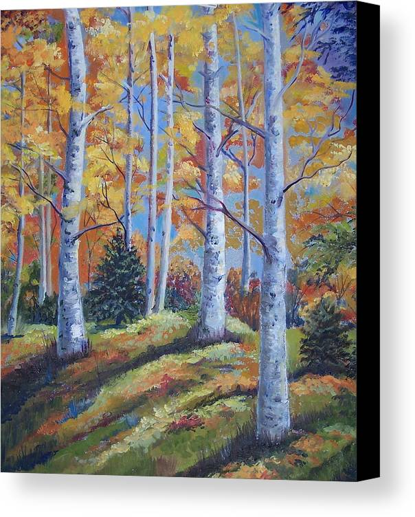 Autumn Foliage Canvas Print featuring the painting The Birches by Audrie Sumner