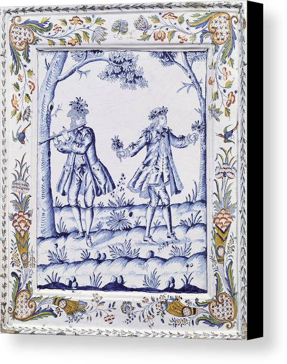 Plaque Canvas Print featuring the painting The Magic Flute by French School