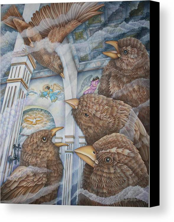 Birds Canvas Print featuring the painting The Sparrows Of San Elizario by Jeniffer Stapher-Thomas