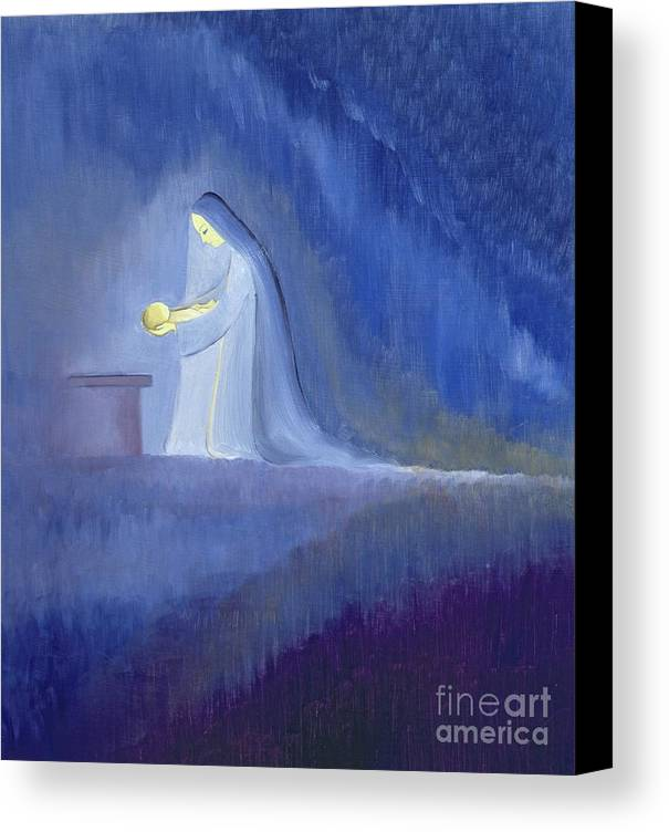 Christ; Love; Nativity; Madonna; Kneeling; Manger; Christmas; Infant; Mother; Baby; Motherhood; Catholic; Catholicism; Caring; Love; Tenderness; Loving; Holding Canvas Print featuring the painting The Virgin Mary Cared For Her Child Jesus With Simplicity And Joy by Elizabeth Wang