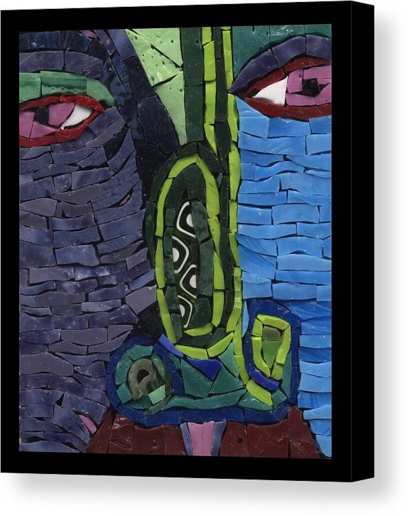Mosaic Canvas Print featuring the painting Too Many High Notes - Ff No. 13 by Gila Rayberg