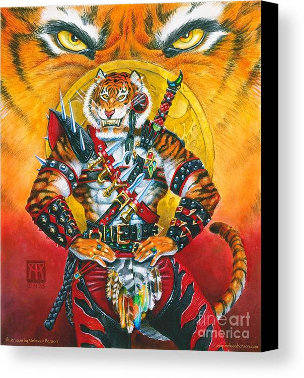 Fantasy Canvas Print featuring the painting Werecat Warrior by Melissa A Benson
