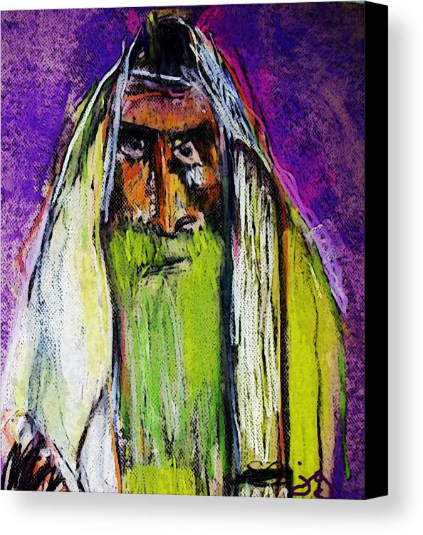 Rabbi Canvas Print featuring the mixed media Yakov by Joyce Goldin