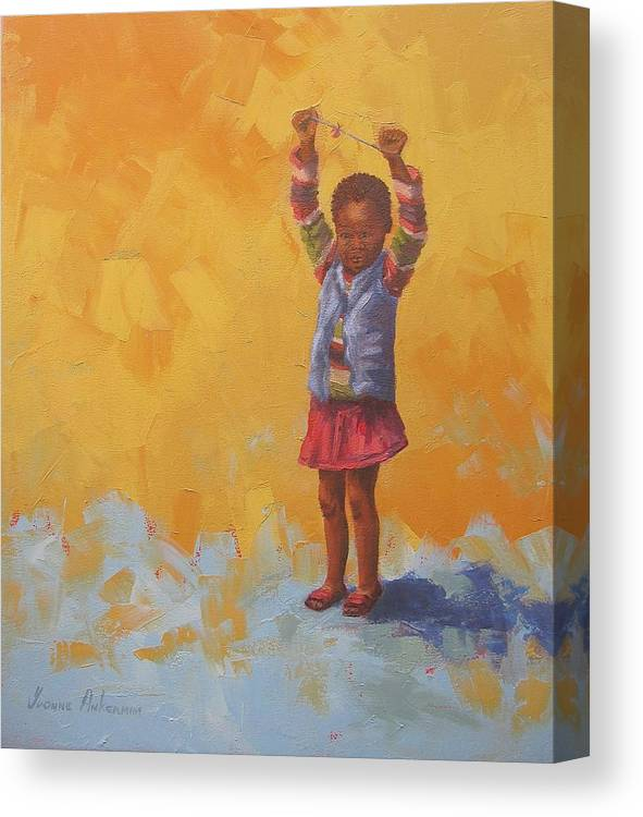 Figures Canvas Print featuring the painting A Bit Of Africa by Yvonne Ankerman