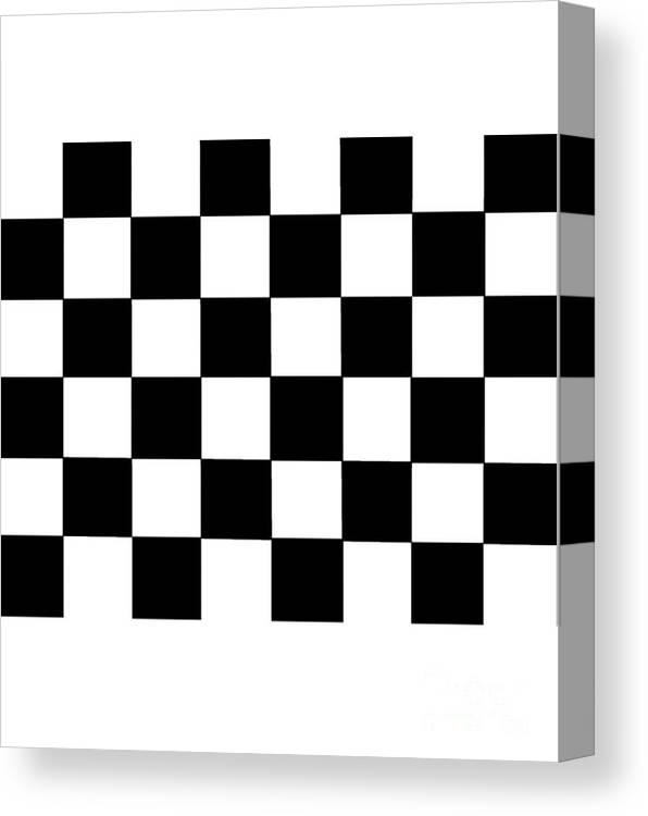 Black Canvas Print featuring the digital art Black And White Checkered Flag by Frederick Holiday