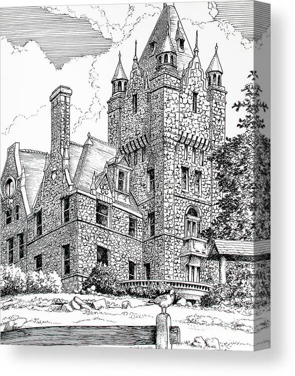 Historic Poster Canvas Print featuring the drawing Boldt Castle With Seagull by Philip Lee