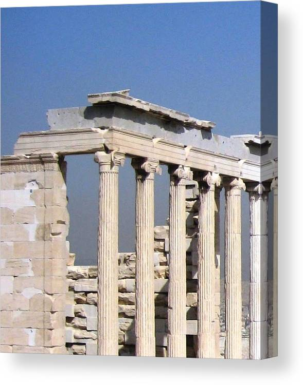 Athens Canvas Print featuring the photograph Erechtheion 2 by Teresa Ruiz
