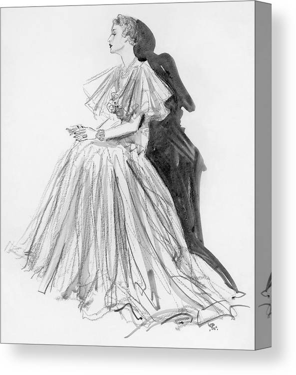 Fashion Canvas Print featuring the digital art Mrs. Jay O'brian Wearing A Grey Tulle Dress by Porter Woodruff
