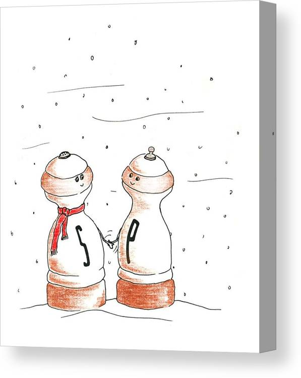 Salt Canvas Print featuring the drawing Seasonings Greeting by Lauri Arntsen