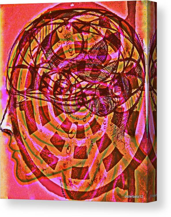 Unconscious Canvas Print featuring the digital art Information That Will Drain Away In Time by Paulo Zerbato