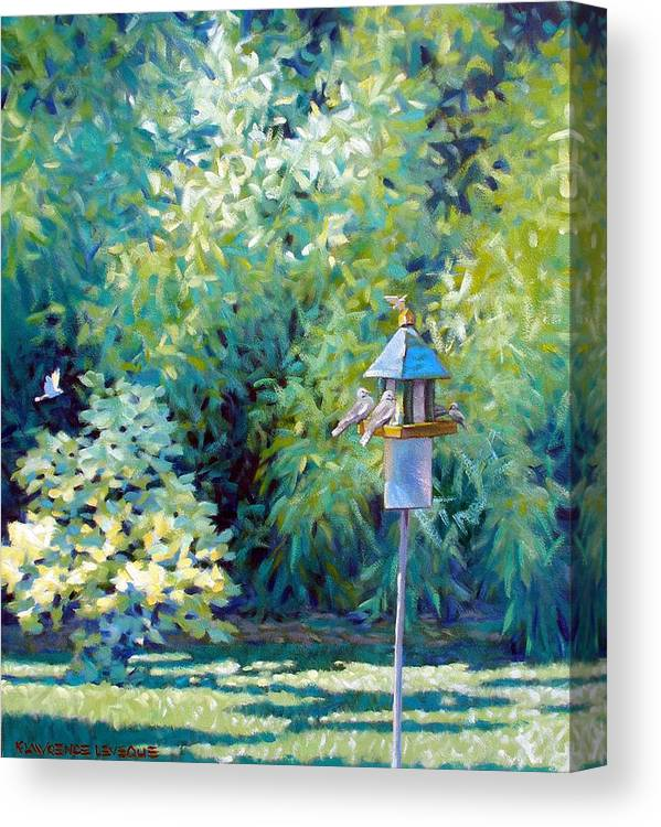 Birds Canvas Print featuring the painting The Bird Feeder by Kevin Lawrence Leveque