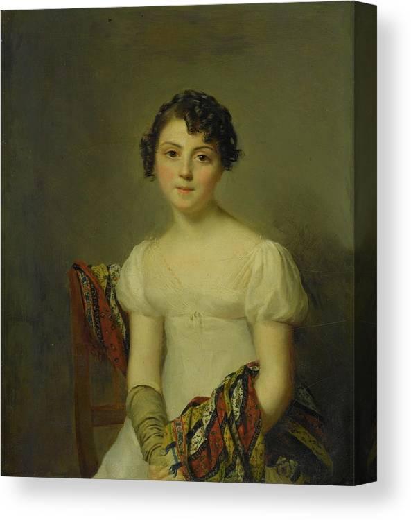 Firmin Massot Geneva 1766 - 1849 Portrait Of Andrienne-constance Bourdillon (1792-1836) Canvas Print featuring the painting Portrait Of Andrienne by MotionAge Designs