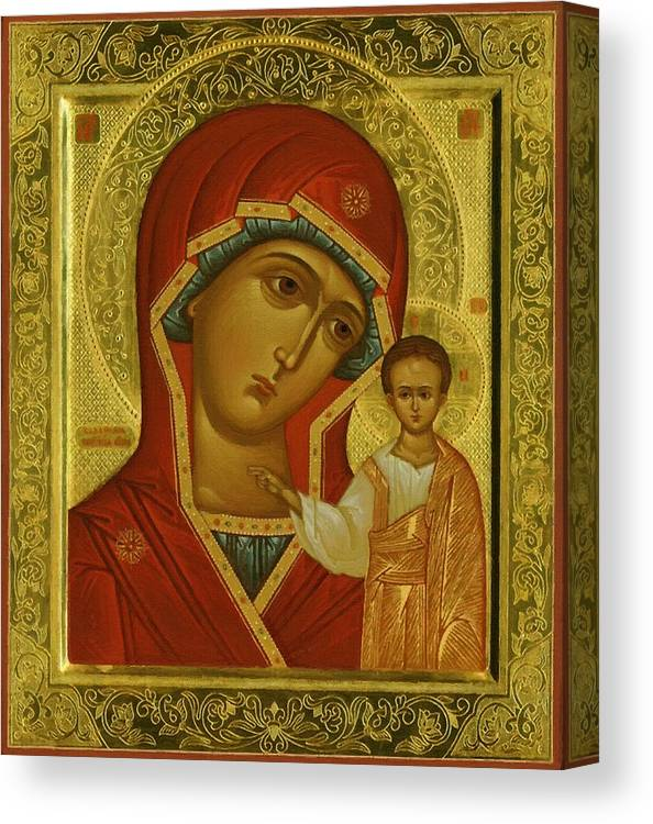Virgin And Child Canvas Print featuring the digital art Virgin And Child Icon by Carol Jackson