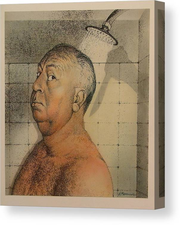Portrait Canvas Print featuring the painting Alfred Hitchcock The Shower by Gary Kaemmer